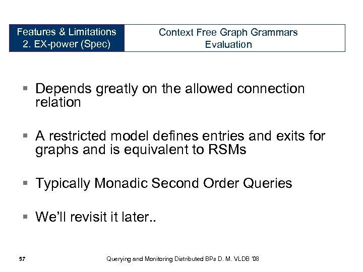 Features & Limitations Expressive Power 2. EX-power (Spec) (Specification) Context Free Graph Grammars Evaluation
