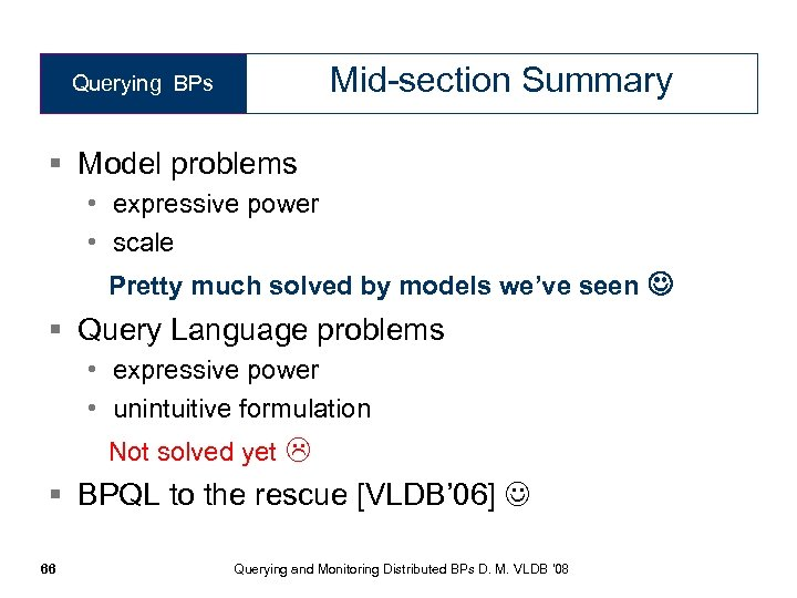 Mid-section Summary Querying BPs § Model problems • expressive power • scale Pretty much
