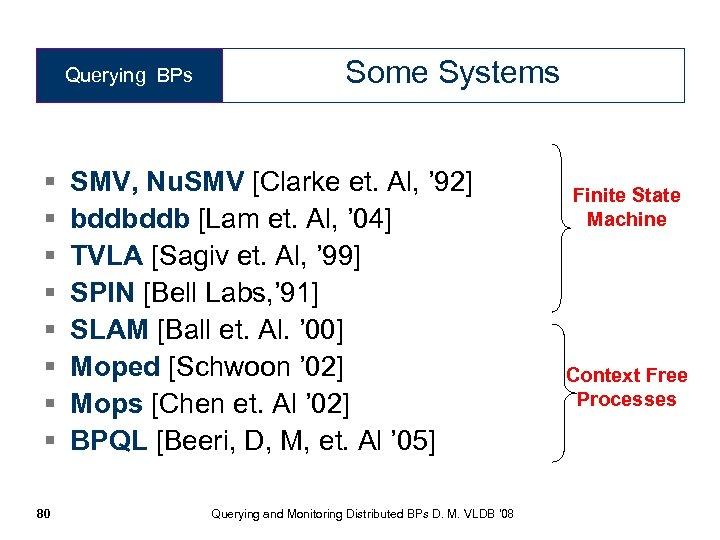 Querying BPs § § § § 80 Some Systems SMV, Nu. SMV [Clarke et.