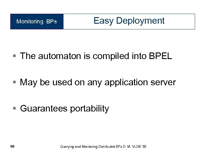 Monitoring BPs Easy Deployment § The automaton is compiled into BPEL § May be