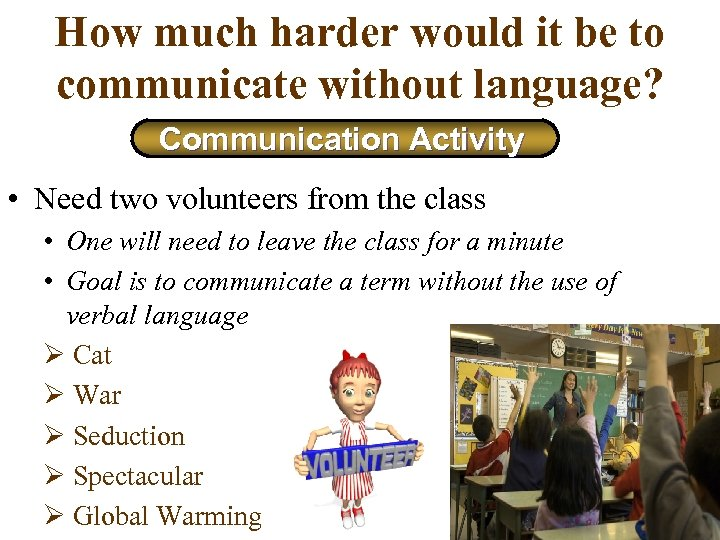 How much harder would it be to communicate without language? Communication Activity • Need