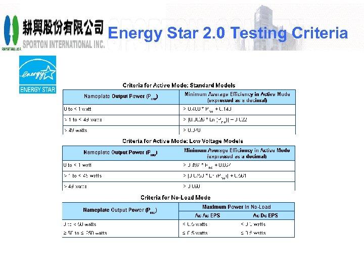 Energy Star 2. 0 Testing Criteria