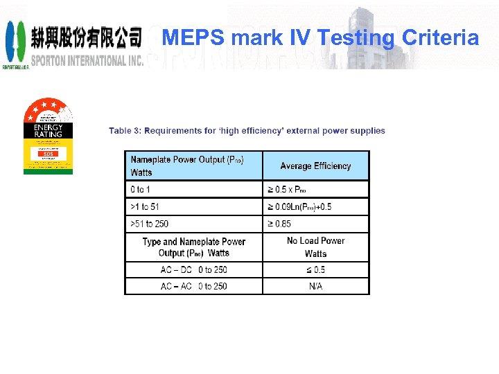 MEPS mark IV Testing Criteria
