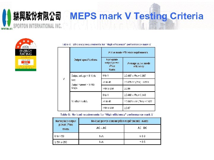 MEPS mark V Testing Criteria