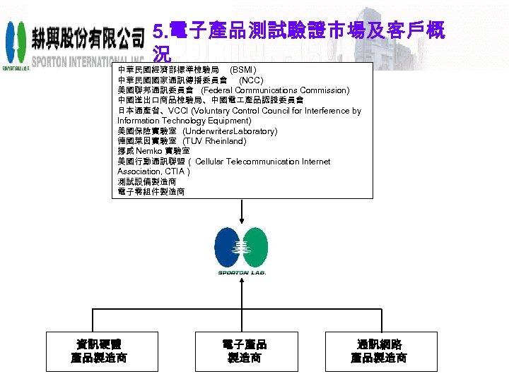 5. 電子產品測試驗證市場及客戶概 況 中華民國經濟部標準檢驗局 (BSMI) 中華民國國家通訊傳播委員會 (NCC) 美國聯邦通訊委員會 (Federal Communications Commission) 中國進出口商品檢驗局、中國電 產品認證委員會 日本通產省、VCCI
