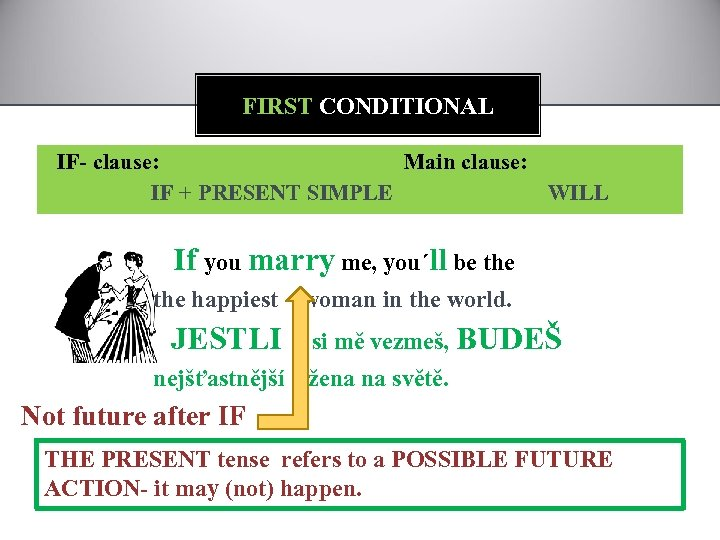 FIRST CONDITIONAL IF- clause: Main clause: IF + PRESENT SIMPLE WILL If you marry