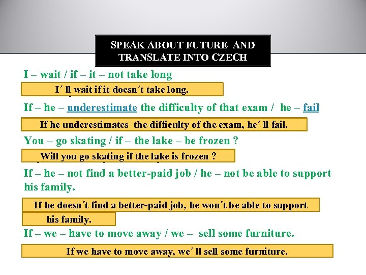 SPEAK ABOUT FUTURE AND TRANSLATE INTO CZECH I – wait / if – it