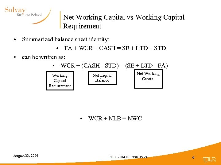 Net Working Capital vs Working Capital Requirement • Summarized balance sheet identity: • FA