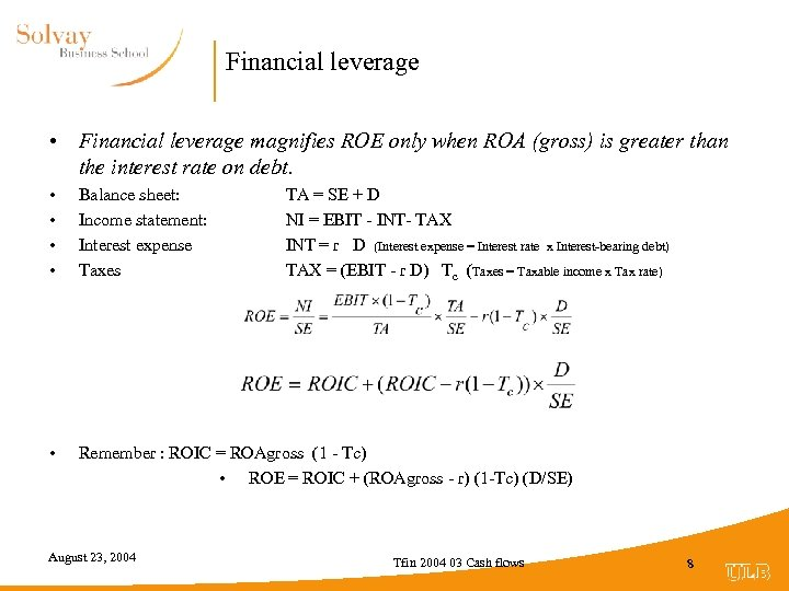 Financial leverage • Financial leverage magnifies ROE only when ROA (gross) is greater than