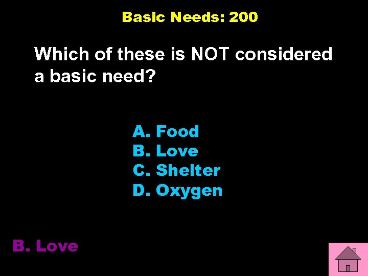 Basic Needs: 200 Which of these is NOT considered a basic need? A. B.