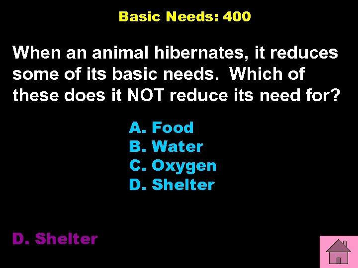 Basic Needs: 400 When an animal hibernates, it reduces some of its basic needs.