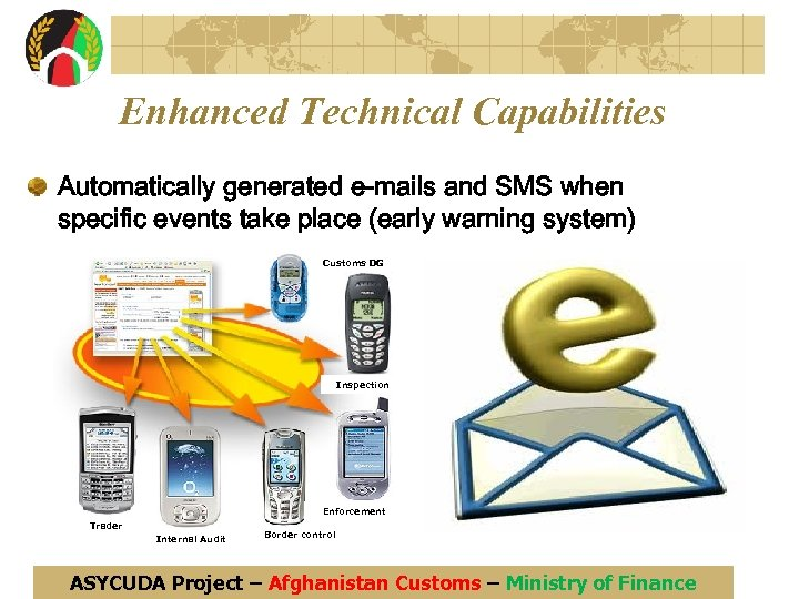 Enhanced Technical Capabilities Automatically generated e-mails and SMS when specific events take place (early