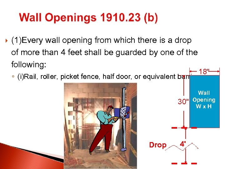 (1)Every wall opening from which there is a drop of more than 4