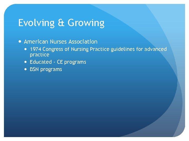Evolving & Growing American Nurses Association 1974 Congress of Nursing Practice guidelines for advanced
