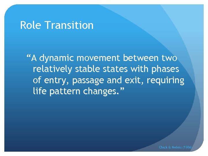 """Role Transition """"A dynamic movement between two relatively stable states with phases of entry,"""