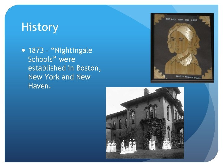 """History 1873 – """"Nightingale Schools"""" were established in Boston, New York and New Haven."""