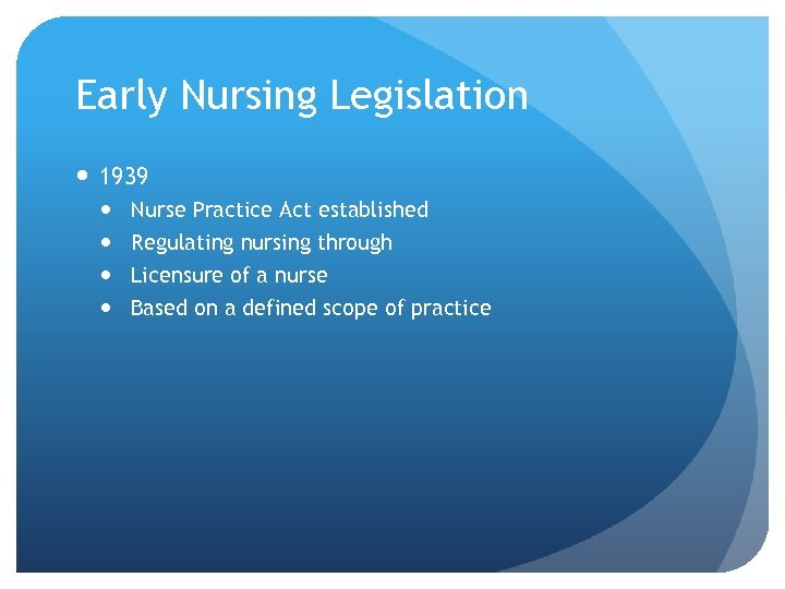 Early Nursing Legislation 1939 Nurse Practice Act established Regulating nursing through Licensure of a