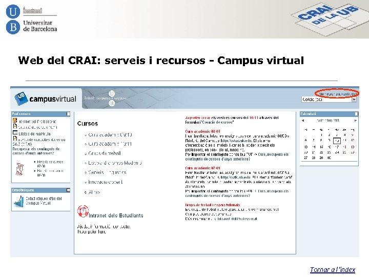 Web del CRAI: serveis i recursos - Campus virtual Tornar a l'índex