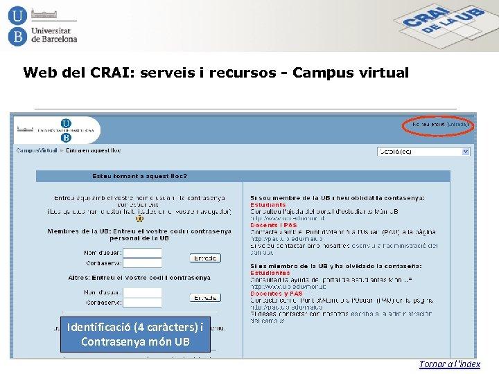 Web del CRAI: serveis i recursos - Campus virtual Identificació (4 caràcters) i Contrasenya
