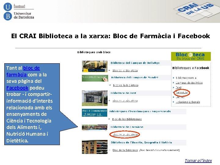 El CRAI Biblioteca a la xarxa: Bloc de Farmàcia i Facebook Tant al bloc