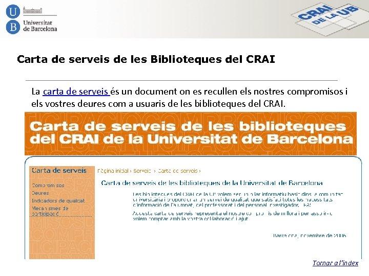 Carta de serveis de les Biblioteques del CRAI La carta de serveis és un