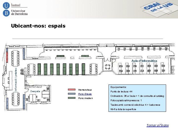 Ubicant-nos: espais Informació i préstec Aula d'Informàtica Equipaments: Despatx Hemeroteca Fons Grewe Fons modern