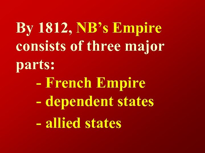 By 1812, NB's Empire consists of three major parts: - French Empire - dependent