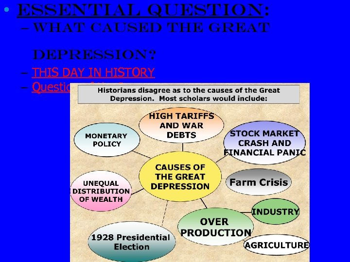 • Essential Question: – What caused the Great Depression? – THIS DAY IN