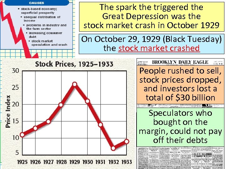 The spark the triggered the Great Depression was the stock market crash in October