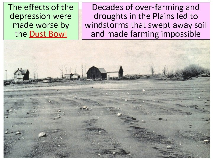 The effects of the depression were made worse by the Dust Bowl Decades of