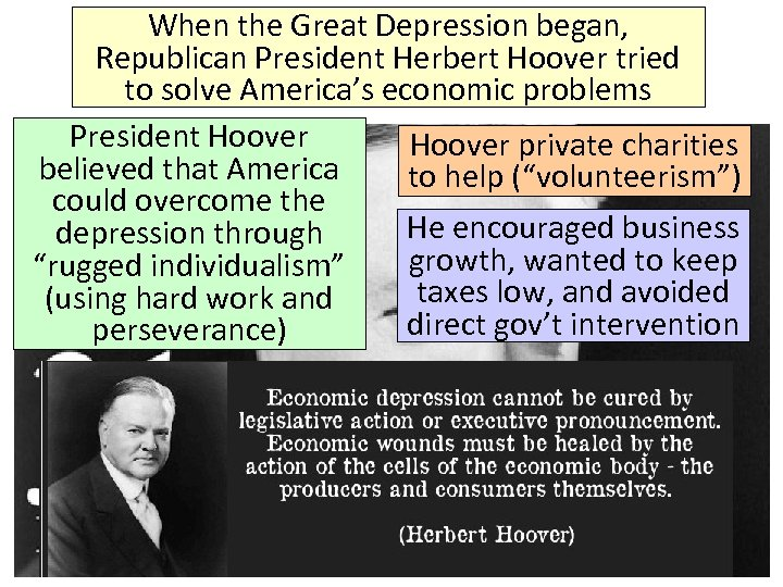 When the Great Depression began, Republican President Herbert Hoover tried to solve America's economic