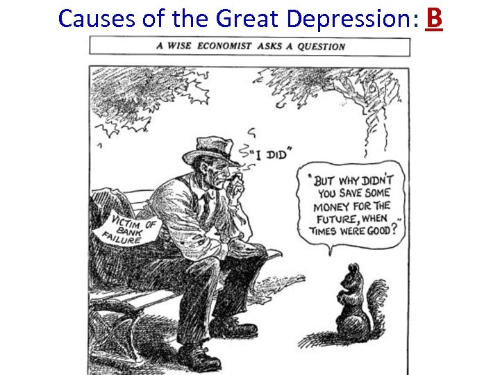 Causes of the Great Depression: B