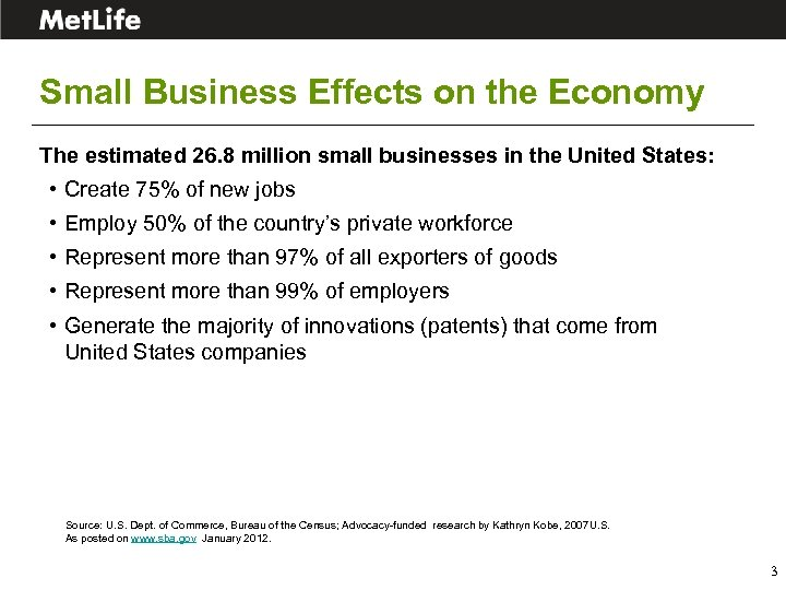 Small Business Effects on the Economy The estimated 26. 8 million small businesses in