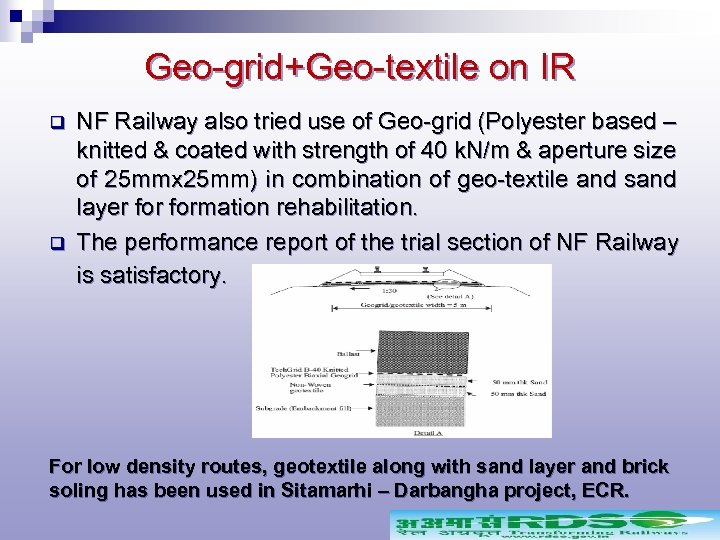 Geo-grid+Geo-textile on IR q q NF Railway also tried use of Geo-grid (Polyester based