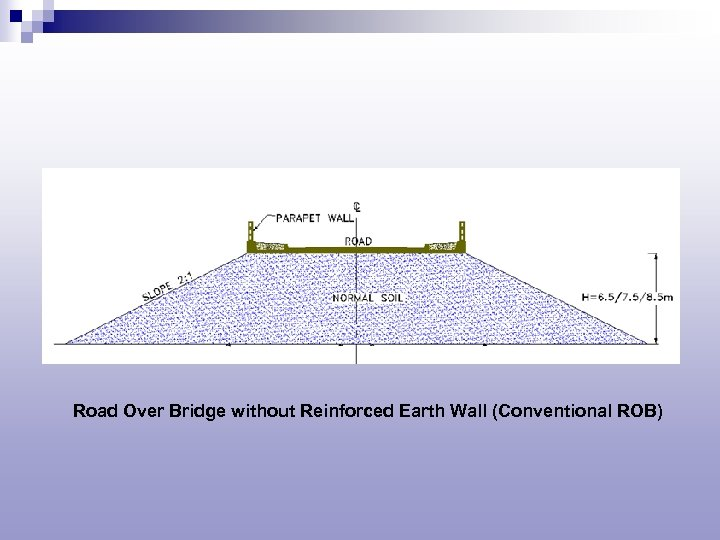 Road Over Bridge without Reinforced Earth Wall (Conventional ROB)