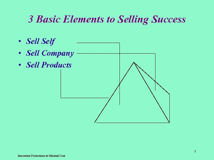3 Basic Elements to Selling Success • Sell Self • Sell Company • Sell