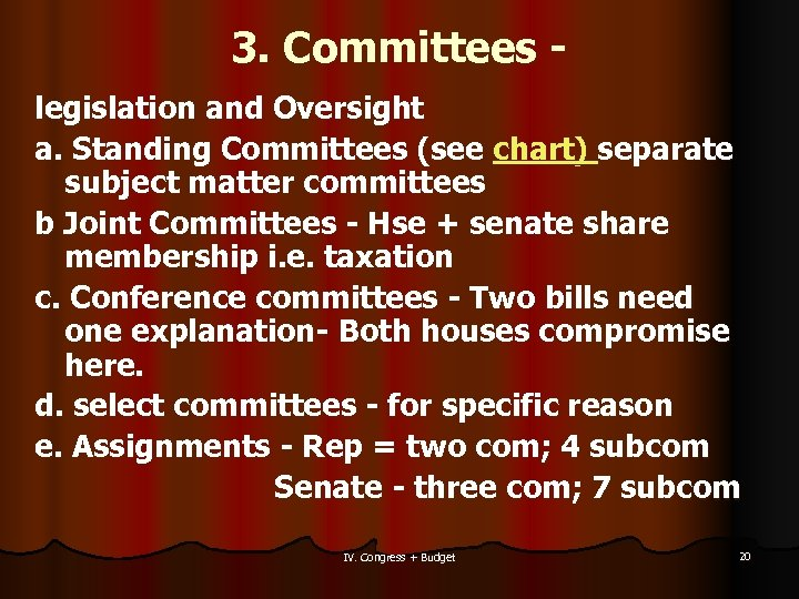3. Committees legislation and Oversight a. Standing Committees (see chart) separate subject matter committees