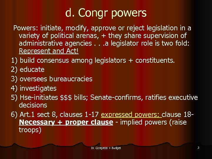 d. Congr powers Powers: initiate, modify, approve or reject legislation in a variety of