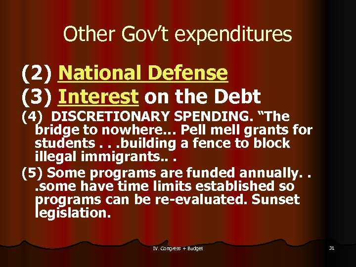 Other Gov't expenditures (2) National Defense (3) Interest on the Debt (4) DISCRETIONARY SPENDING.