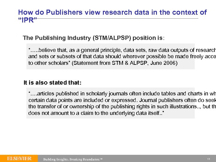 """How do Publishers view research data in the context of """"IPR"""" The Publishing Industry"""