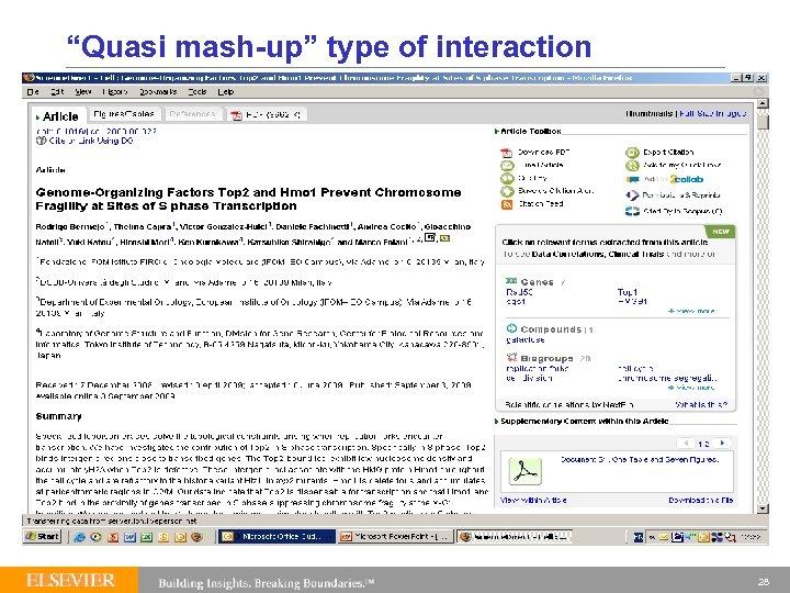 """Quasi mash-up"" type of interaction 28"