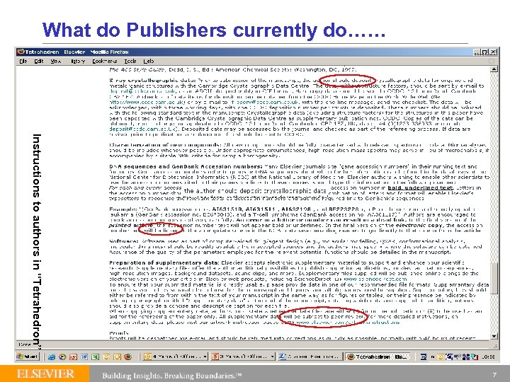 """What do Publishers currently do…… Instructions to authors in """"Tetrahedron"""" 7"""