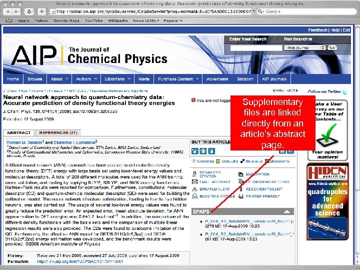 Supplementary files are linked directly from an article's abstract page. 8