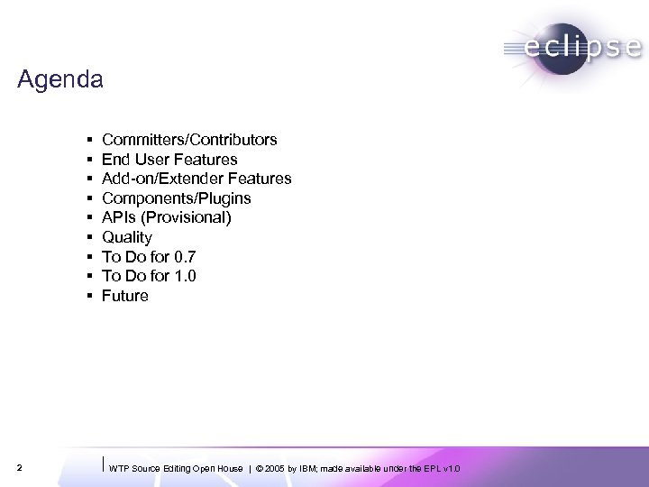 Agenda § § § § § 2 Committers/Contributors End User Features Add-on/Extender Features Components/Plugins