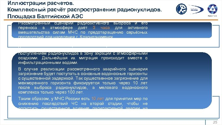 Иллюстрации расчетов. Комплексный расчёт распространения радионуклидов. Площадка Балтийской АЭС Рассмотренный сценарий радиоактивного выброса и