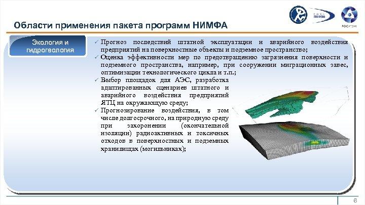 Области применения пакета программ НИМФА Экология и гидрогеология ü ü Прогноз последствий штатной эксплуатации