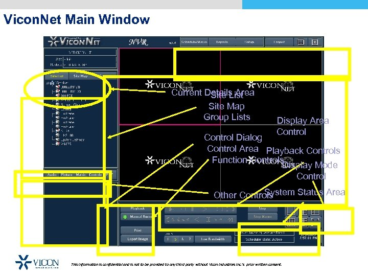 Vicon. Net Main Window Toolbar Current Details Area Site List Site Map Group Lists