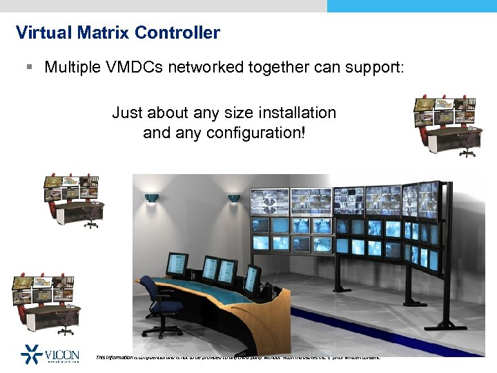 Virtual Matrix Controller § Multiple VMDCs networked together can support: Just about any size