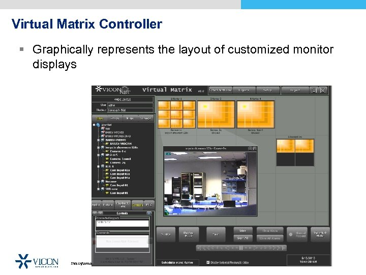 Virtual Matrix Controller § Graphically represents the layout of customized monitor displays This information