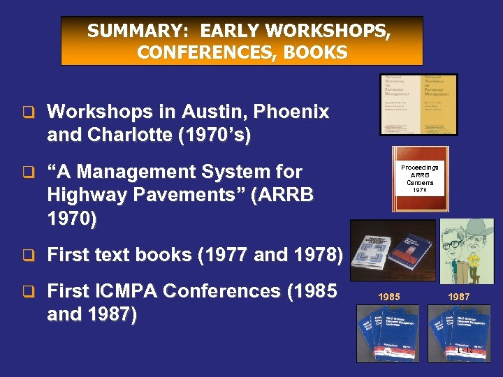 SUMMARY: EARLY WORKSHOPS, CONFERENCES, BOOKS q Workshops in Austin, Phoenix and Charlotte (1970's) q